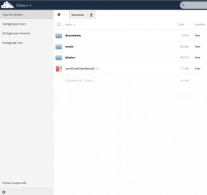 Interface principal de owncloud
