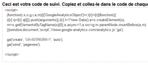 Code de suivi Analytics