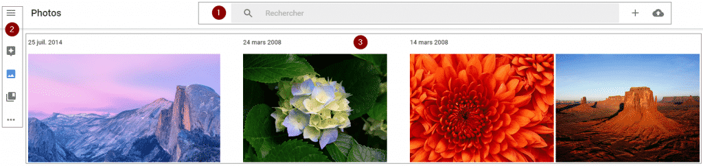 Menu de Google Photos