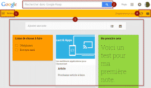 Interface de Google Keep