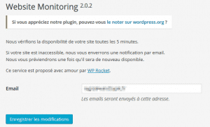 Réglages > Website monitoring
