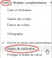 Document Sheets > Outils > Règles de notification