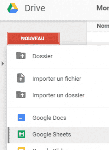 """Créer un document de type Google Sheets""."