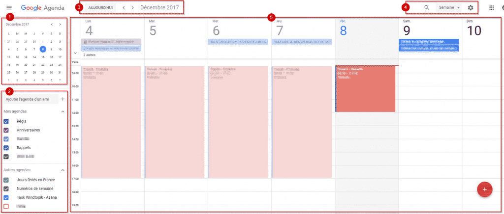 Interface de Google Agenda.