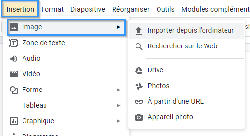 Insertion d'une image dans Google Slides