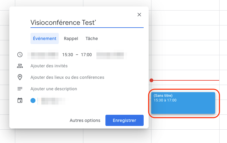 Evenement Google Agenda