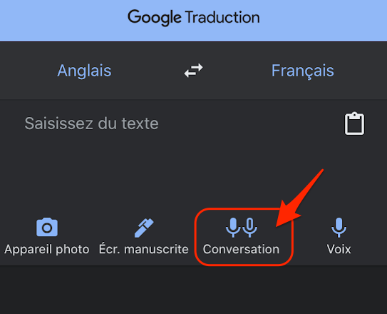 Bouton conversation google traduction