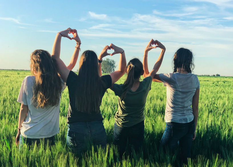 Four girls on a field