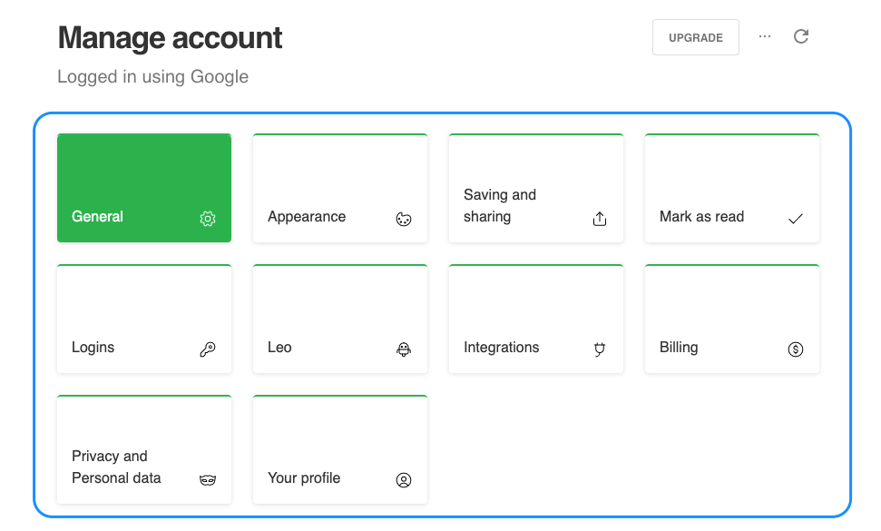 manage account feedly