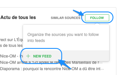 ajouter sources à feedly. new feed