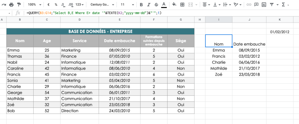 QUERY Date exemple